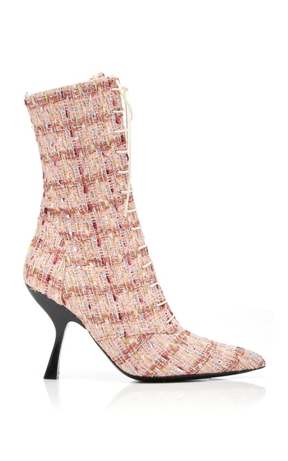 Pink Tweed Lace-Up Boots