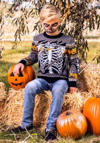 Ripped Open Skeleton Halloween Sweater