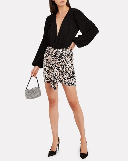 Twisted Satin Leopard Skirt