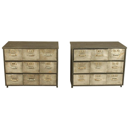 Industrial Metal and Wood Nine Drawer Filing Cabinets (Pair of 2)