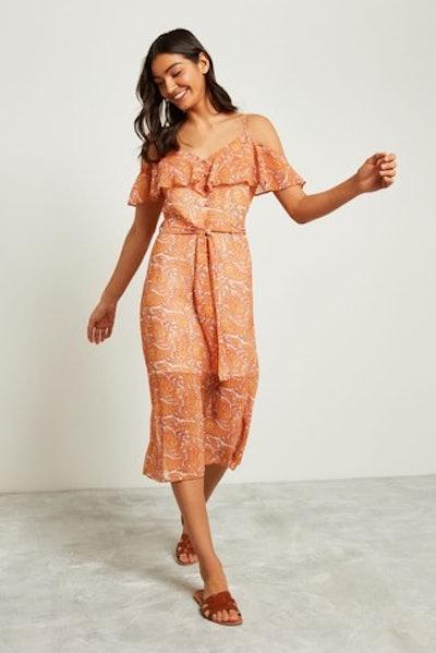 Orange Paisley Frill Maxi Dress