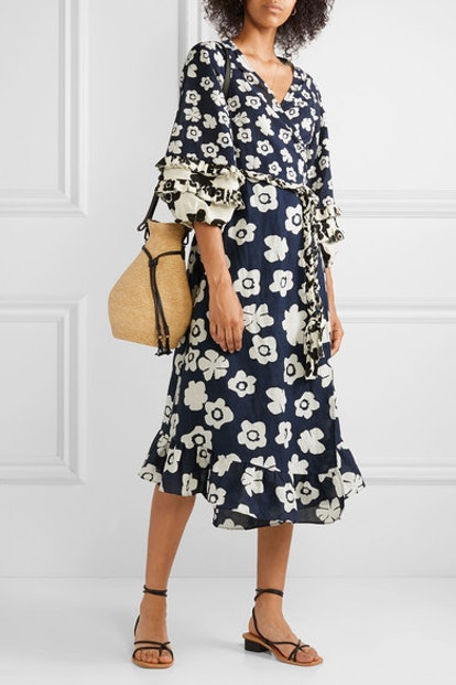 Beja Ruffled Floral-Print Linen and Cotton-Blend Wrap Dress