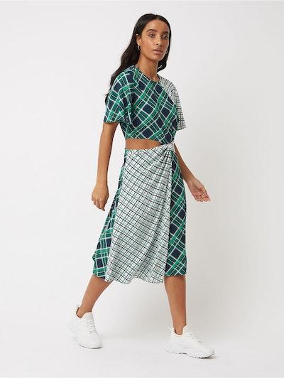 Green Check Cut Out Waist Midi Dress