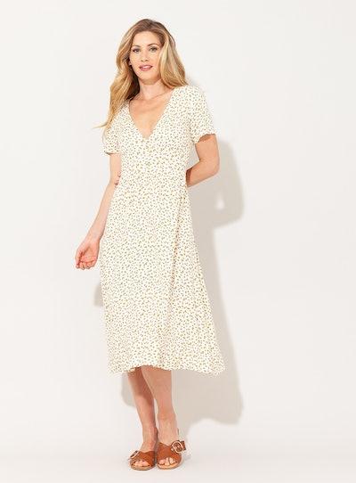 ONLY Cream Floral Midi Dress