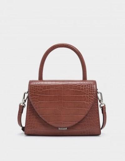 Croc Effect Structured Top Handle Bag