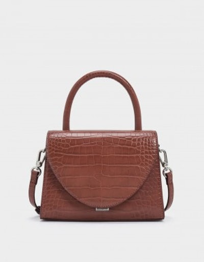Croc Effect Structured Top Handle Bag