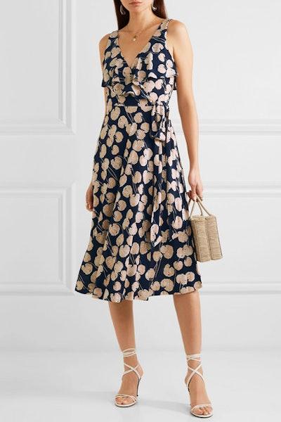 Naya Ruffled Printed Silk-Jersey Wrap Dress