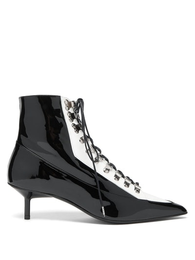 Lace-Up Patent Leather Boots