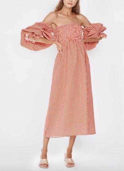 Atlanta Linen Dress in Red Gingham