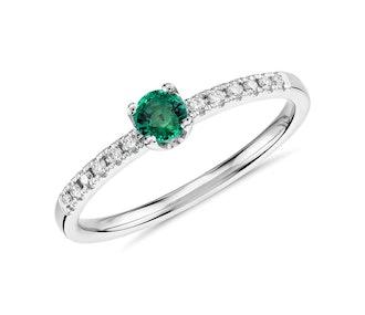 Petite Emerald Stacking Diamond Ring