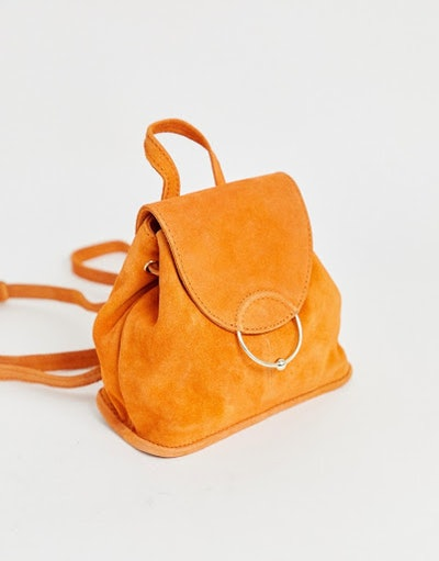 Suede Mini Backpack With Ring And Ball Detail