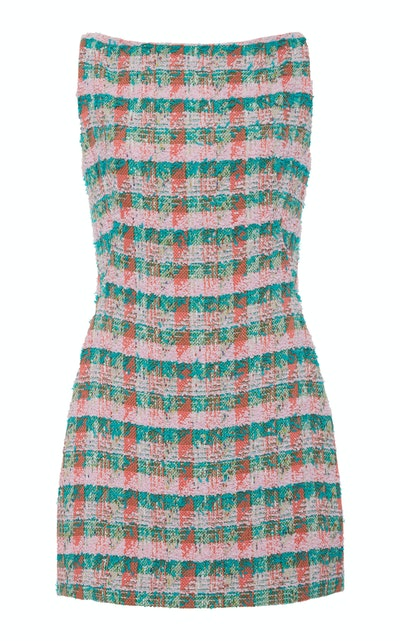 Zac Posen Tweed Cotton-Blend Mini Dress