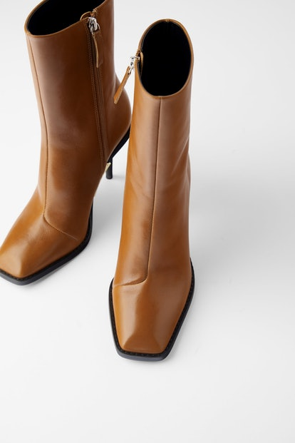 Heeled Leather Square Toe Ankle Boots