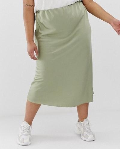 Bias Cut Satin Slip Midi Skirt