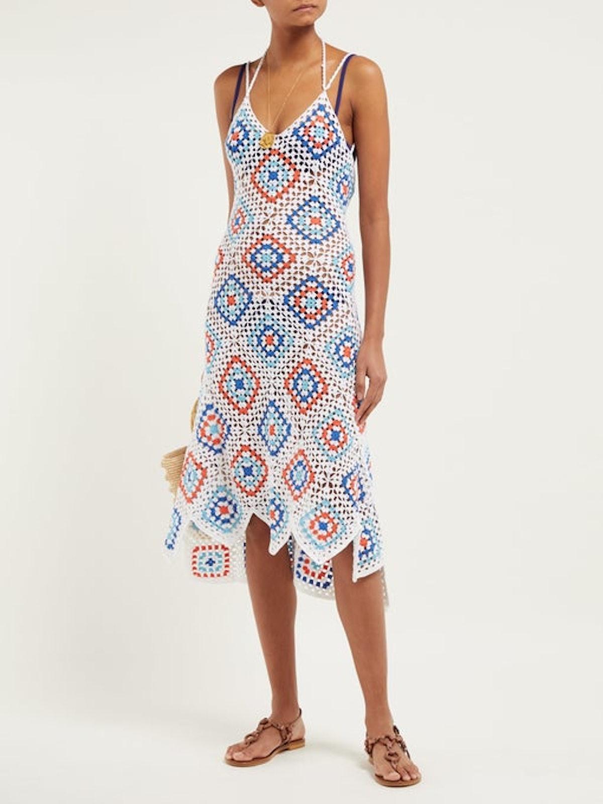 Sexy Granny Crochet-Knit Cotton Midi Dress