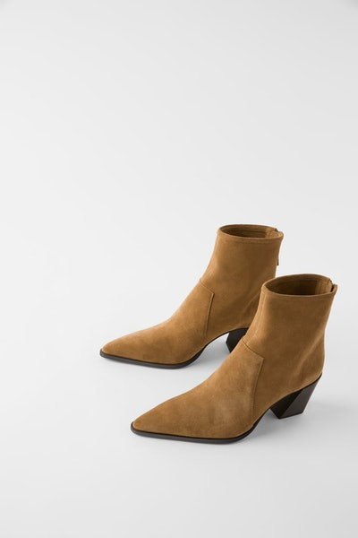 Soft Split Leather Heeled Ankle Boots