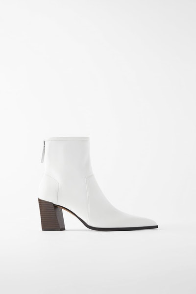 Soft Leather High Heeled Ankle Boots