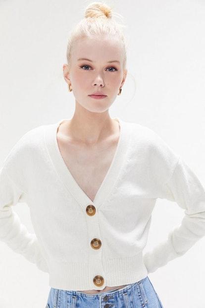 "Honey Plush Cropped Cardigan in ""White"""