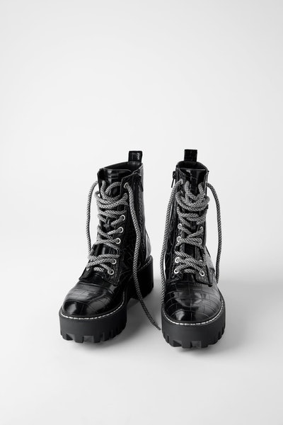 Animal Print Platform Ankle Boots