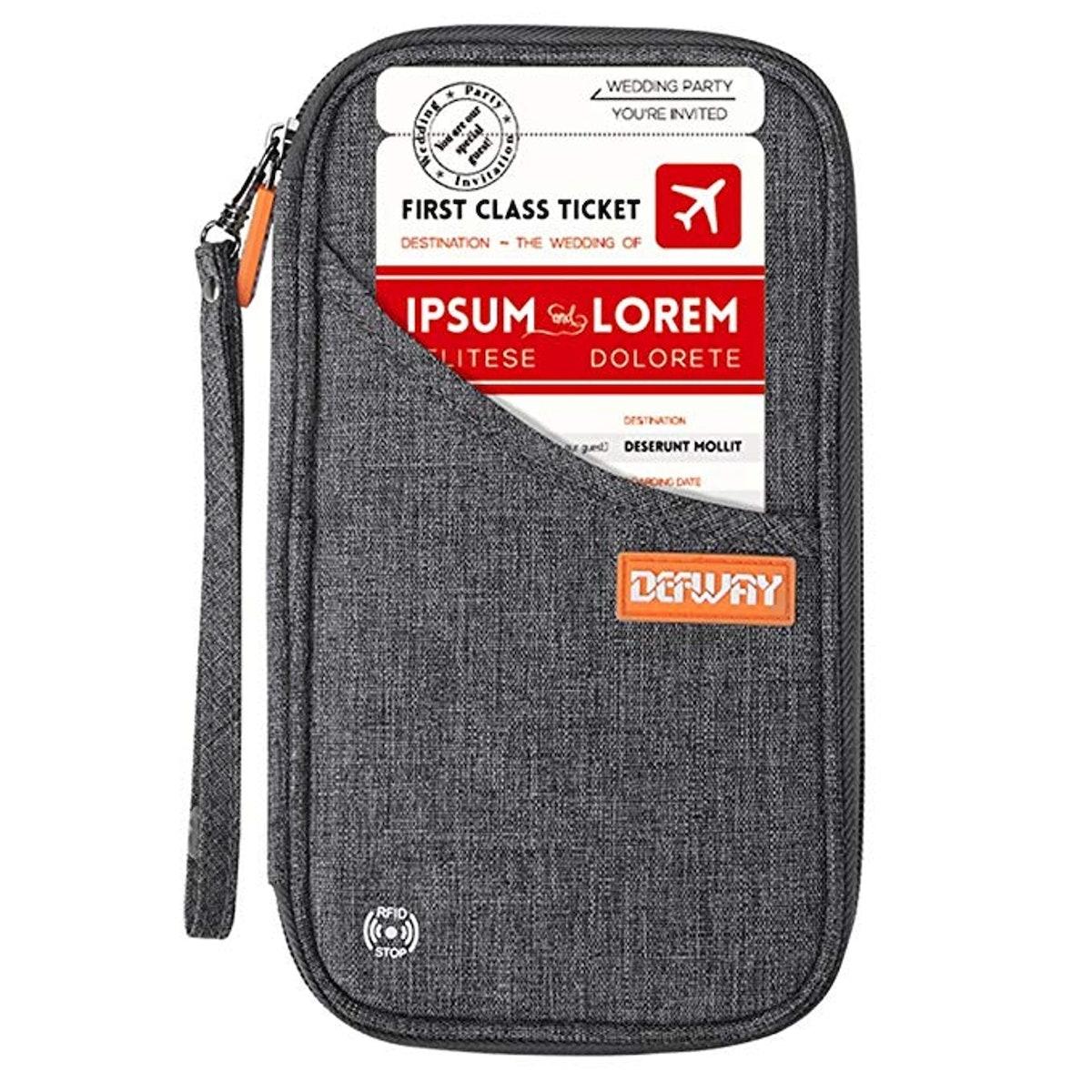 Defway Travel Wallet RFID Blocking Document Organizer Bag