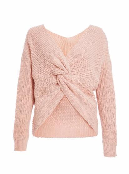 Pink Light Knit Crop Knot Sweater