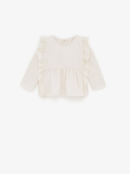 EMBROIDERED TOP WITH TULLE