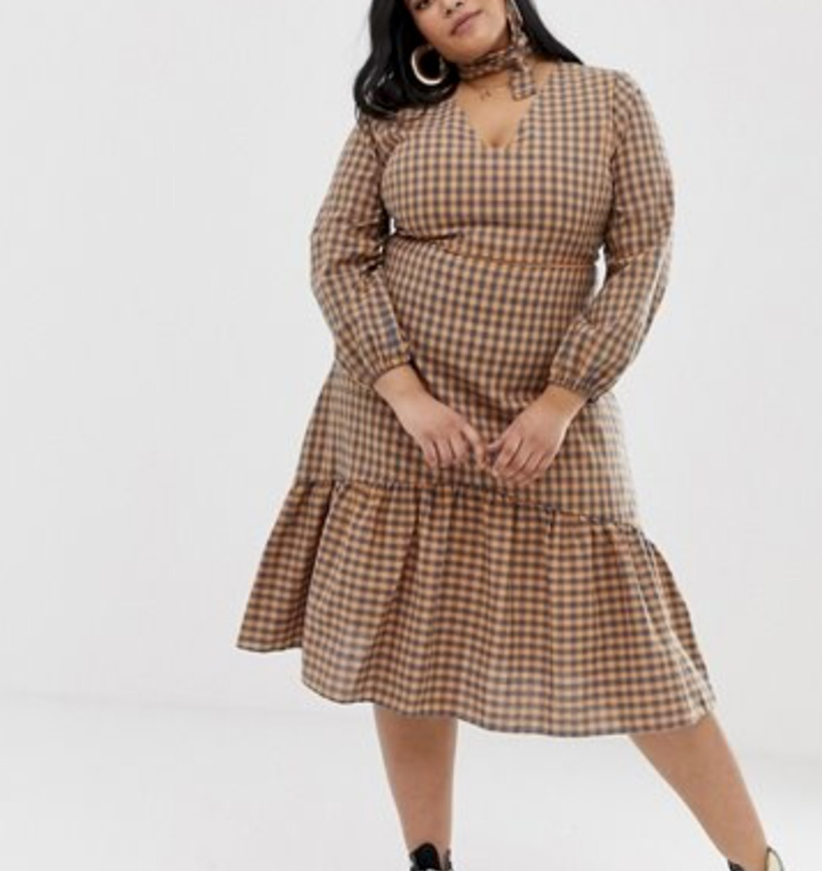 Midi Dress with Neck Tie in Gingham