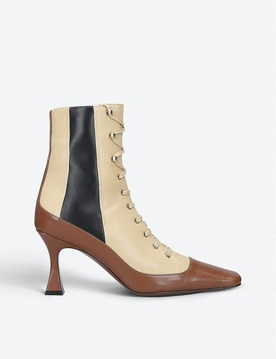 Duck Leather Lace-Up Ankle Boots
