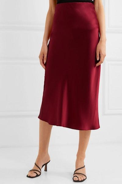 Isla Silk-Satin Midi Skirt