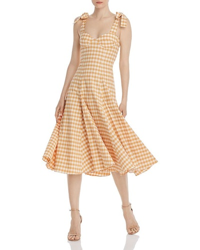 Mona Gingham Midi Dress