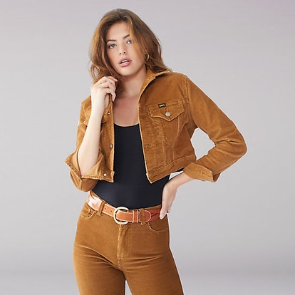 """Vintage Modern Cropped Trucker Jacket in """"Ochre"""""""