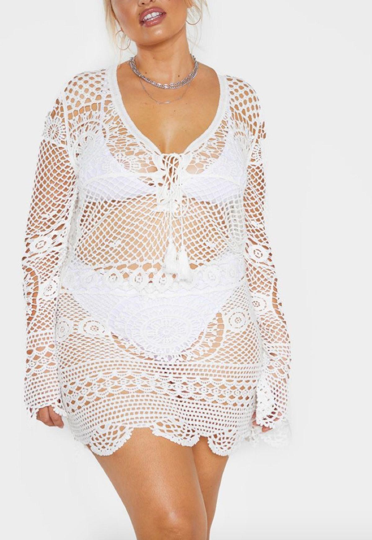 Cream Crochet Knit Dress