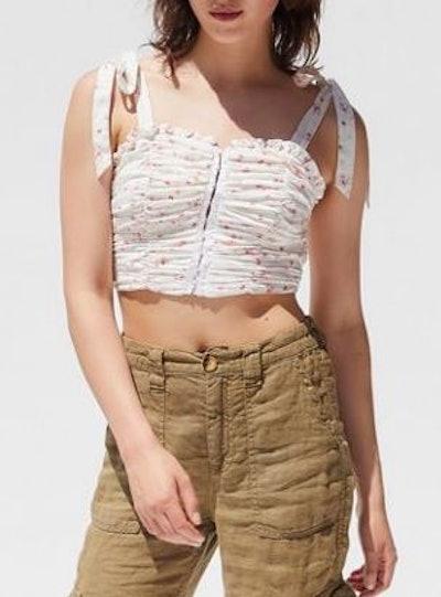 Zella Ruched Tie-Shoulder Tank Top
