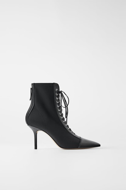 Technical Laced Heeled Ankle Boots