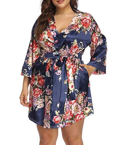 Allegrace Plus Size Floral Print Wrap Front Robe