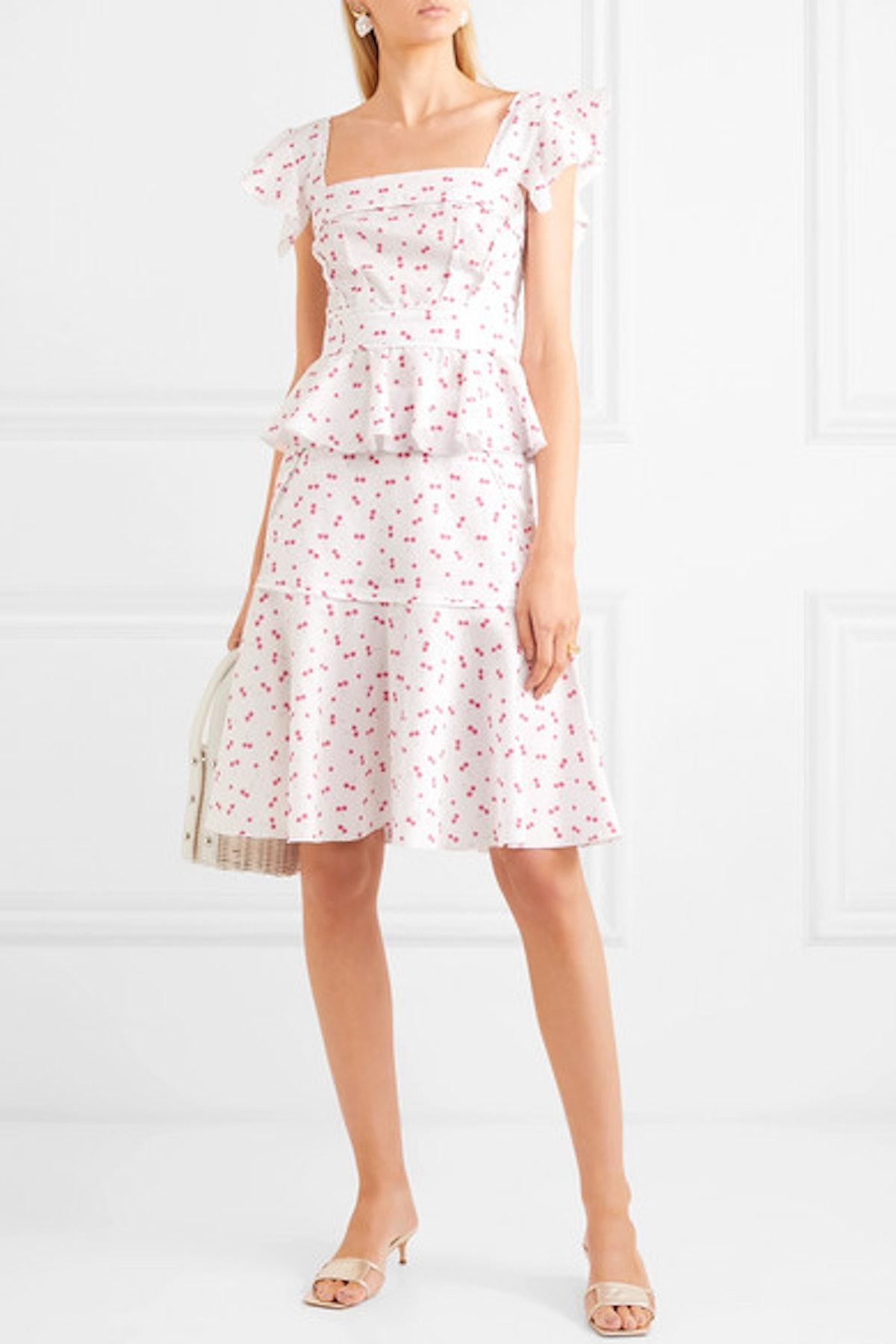 Ingrid Ruffled Printed Cotton Midi Dress