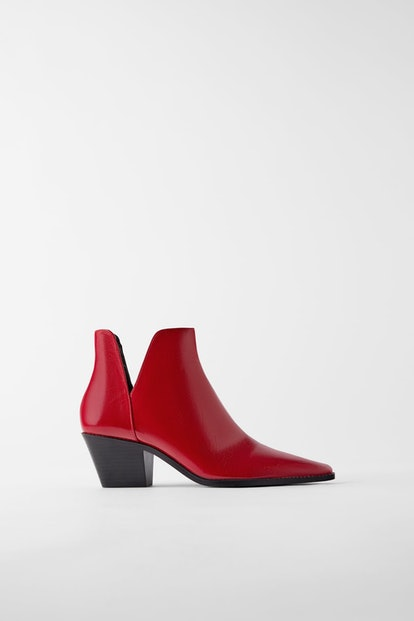 Heeled Cowboy Ankle Boots With Cut Outs