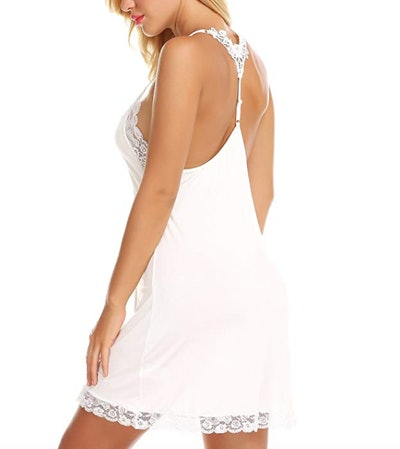 RSLOVE Lace Chemise V-Neck Nightgown