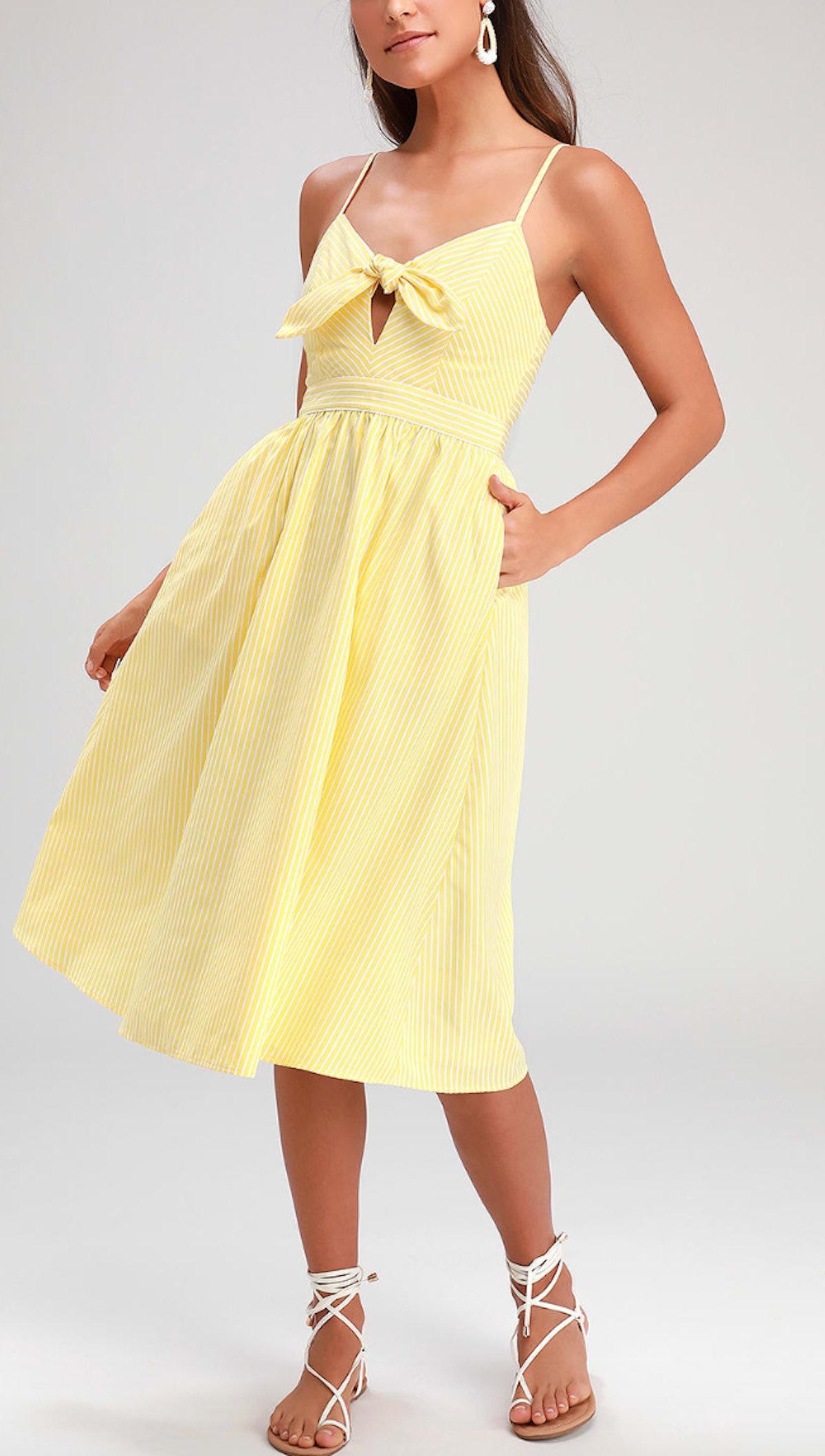 Joyful Days Yellow Striped Knotted Front Midi Dress