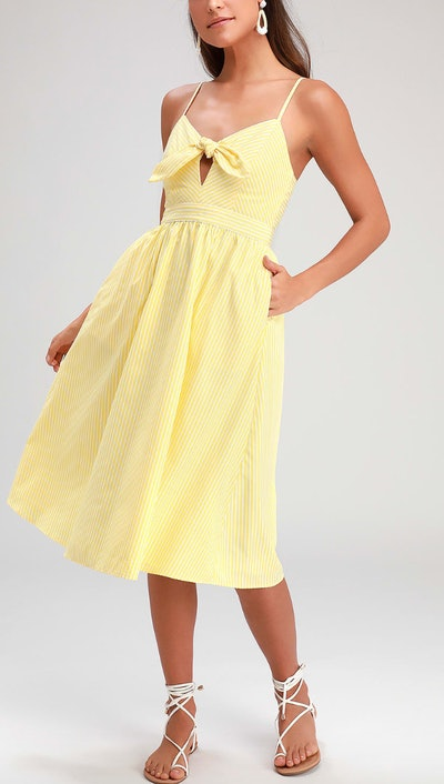 Joyful Days Yellow Striped Knotted Front Midi Dress