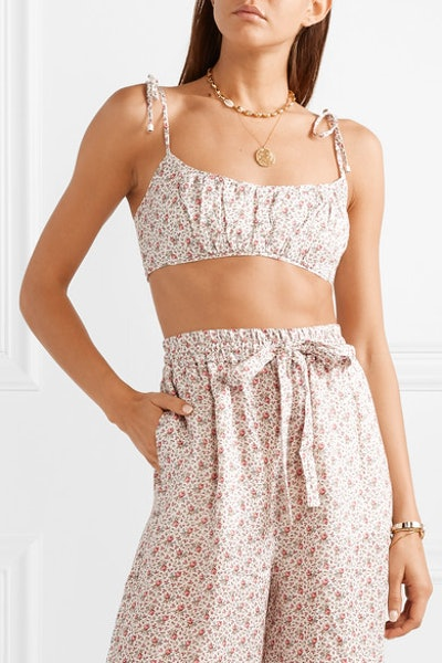 Heathers Cropped Floral-Print Linen Top