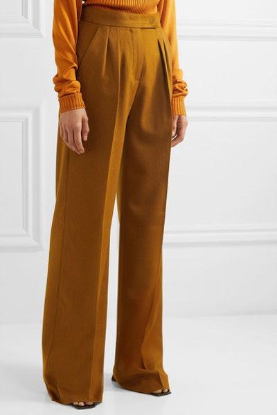 Renon Pleated Camel Hair Wide-Leg Pants