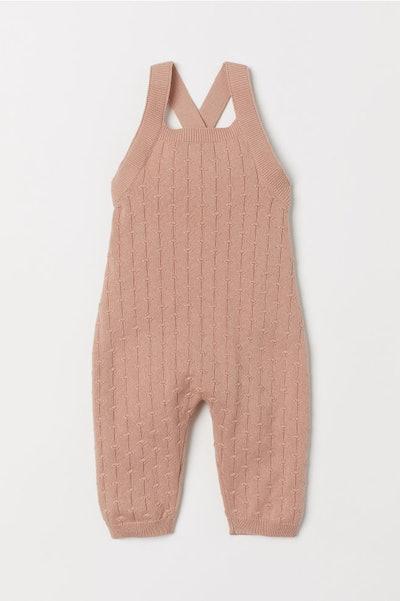 Pattern-knit Bib Overalls