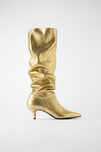 Metallic Kitten Heel Boots
