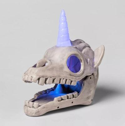 Light-Up Unicorn Color Changing Skull Decorative Halloween Prop