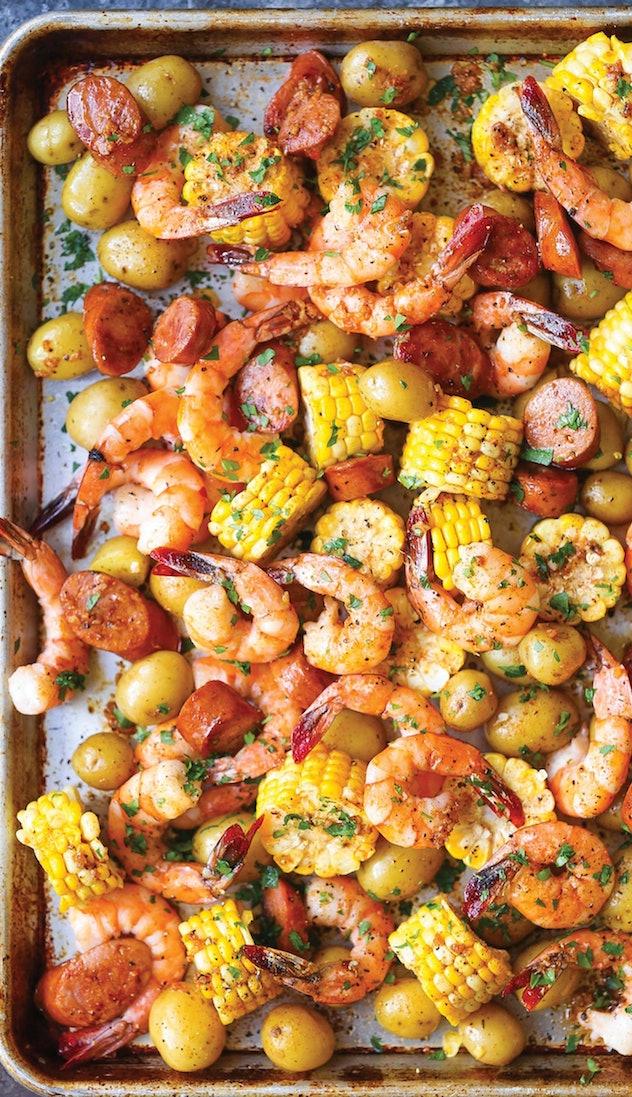 image of gluten-free sheet pan recipe showing shrimp, corn, sausage and potatoes