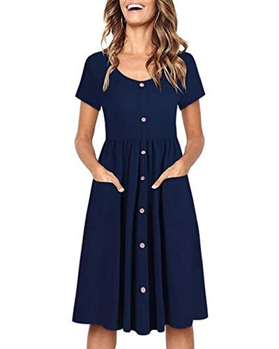 OUGES Button-Down Skater Dress