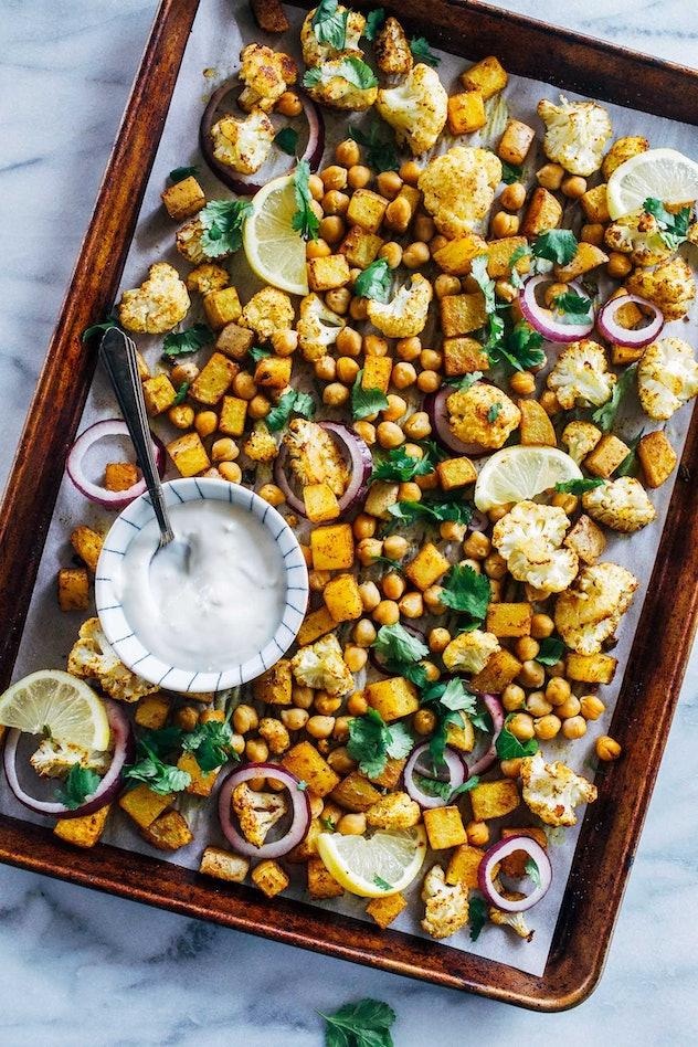 image of gluten-free sheet pan recipe of chickpea tikka masala with cauliflower and potatoes