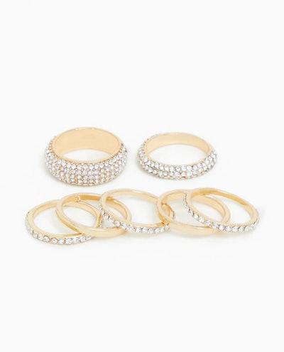 Gold-Tone pave Stacking Ring Set