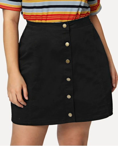 SHEIN Plus Button Up Denim Skirt